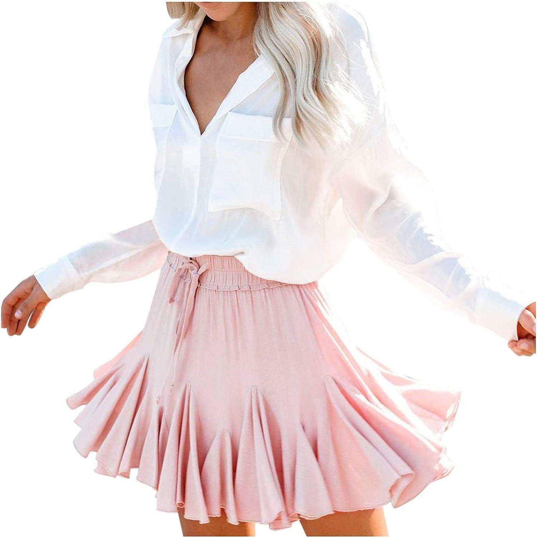 WOYAOFA Women's Basic Elegant Casual Flower Print Ruffle Daily Beach Short Dress A-Line Mini Slim Skirt