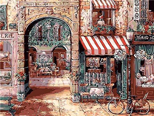 DIY Pintar por Numeros Adultos Niños Pintura por Numeros con Pinceles Lienzo y Pinturas Acrilicas Calle de la cabina telefónica de la ciudadfestival regalodecoración de casa 40 x 50 cm (sin marco)