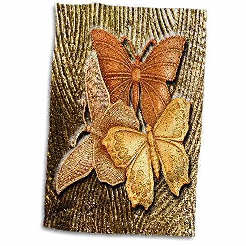 3D Rose Embossed Background with Accents and Three Beautiful Butterflies in Golds-Yellows and Copper. Towel, 15' x 22', Multicolor
