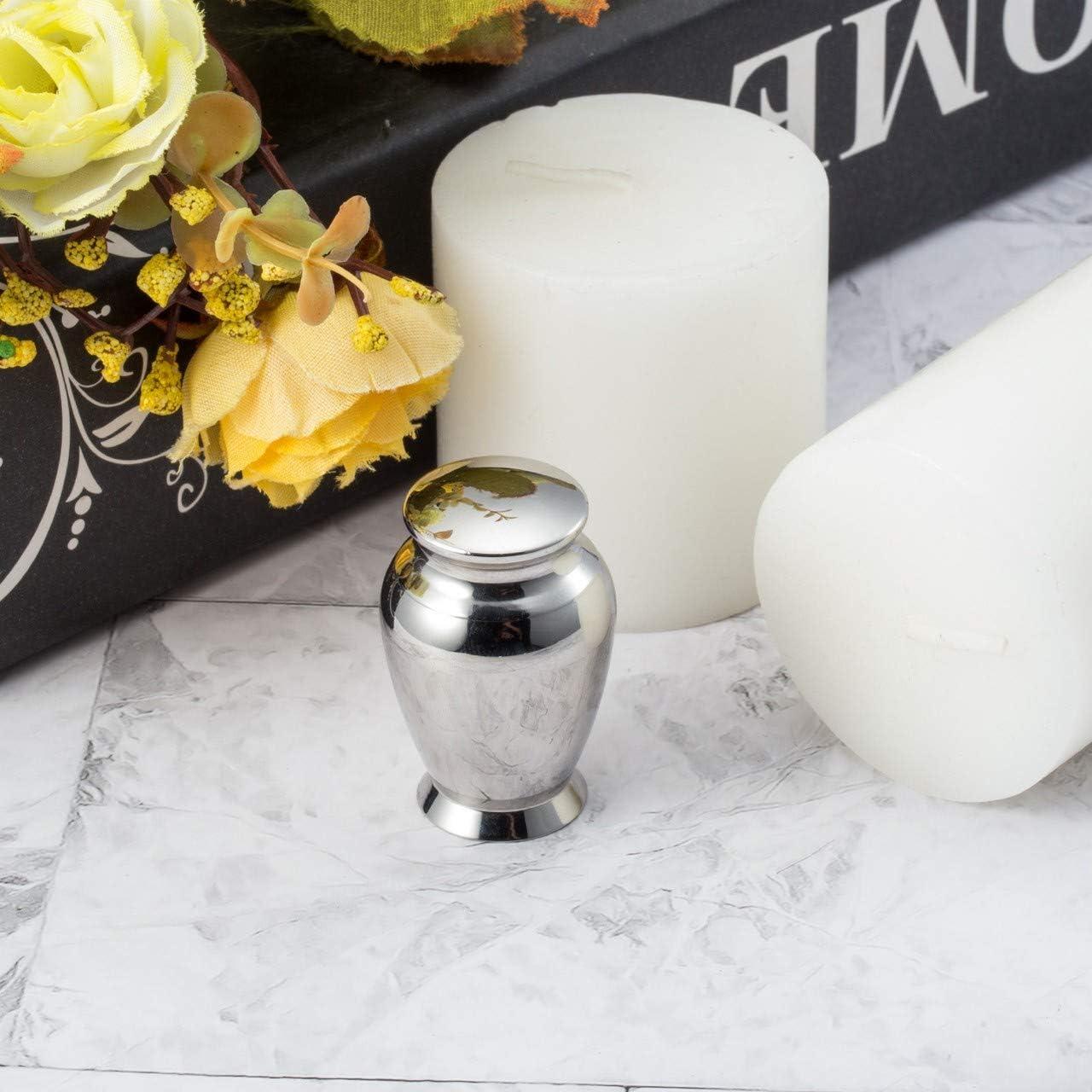 Zysta Mini urna de acero inoxidable resistente al agua para cenizas de cremaci/ón de cremaci/ón para el almacenamiento seguro de cenizas