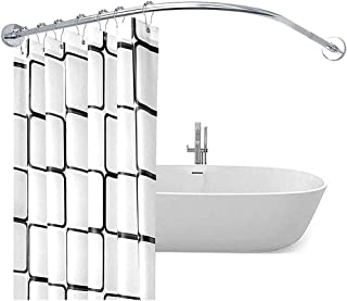 L-Shaped Curved Shower Curtain Rod, Extendable Bathroom Bath Curtain Rail Bar No Drilling Stainless Steel 100% Rustproof N...