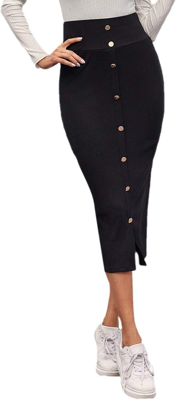 MakeMeChic Women's Solid Basic Below Knee Stretchy Pencil Skirt Black E M