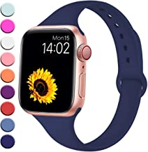 R-fun Slim Bands Compatible with Apple Watch Band 40/44mm Series 5/4 38/42mm Series 3/2/1, Soft Silicone Sport Strap Wristband for Women Men Kids with iWatch