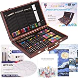 102 Piece Deluxe Art Set- 2 x 50 Page Sketch Book, 1 x 24 Page Watercolor Pad, Art Set in Portable Wooden Case- Oil Pastels, Colored Pencils, Watercolor Cakes, Sharpener-Deluxe Art Set