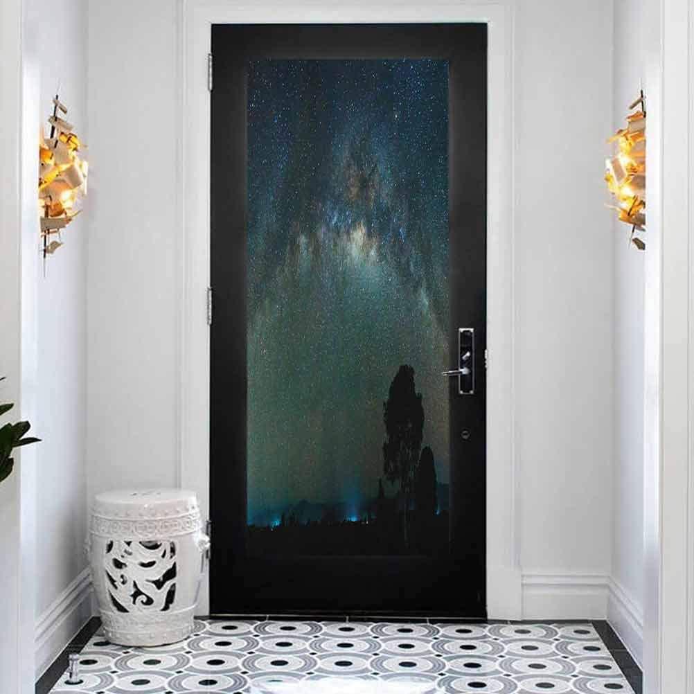 3D Modern Art Shipping included Decorative overseas Door Sticker Photography Milky Way Sky