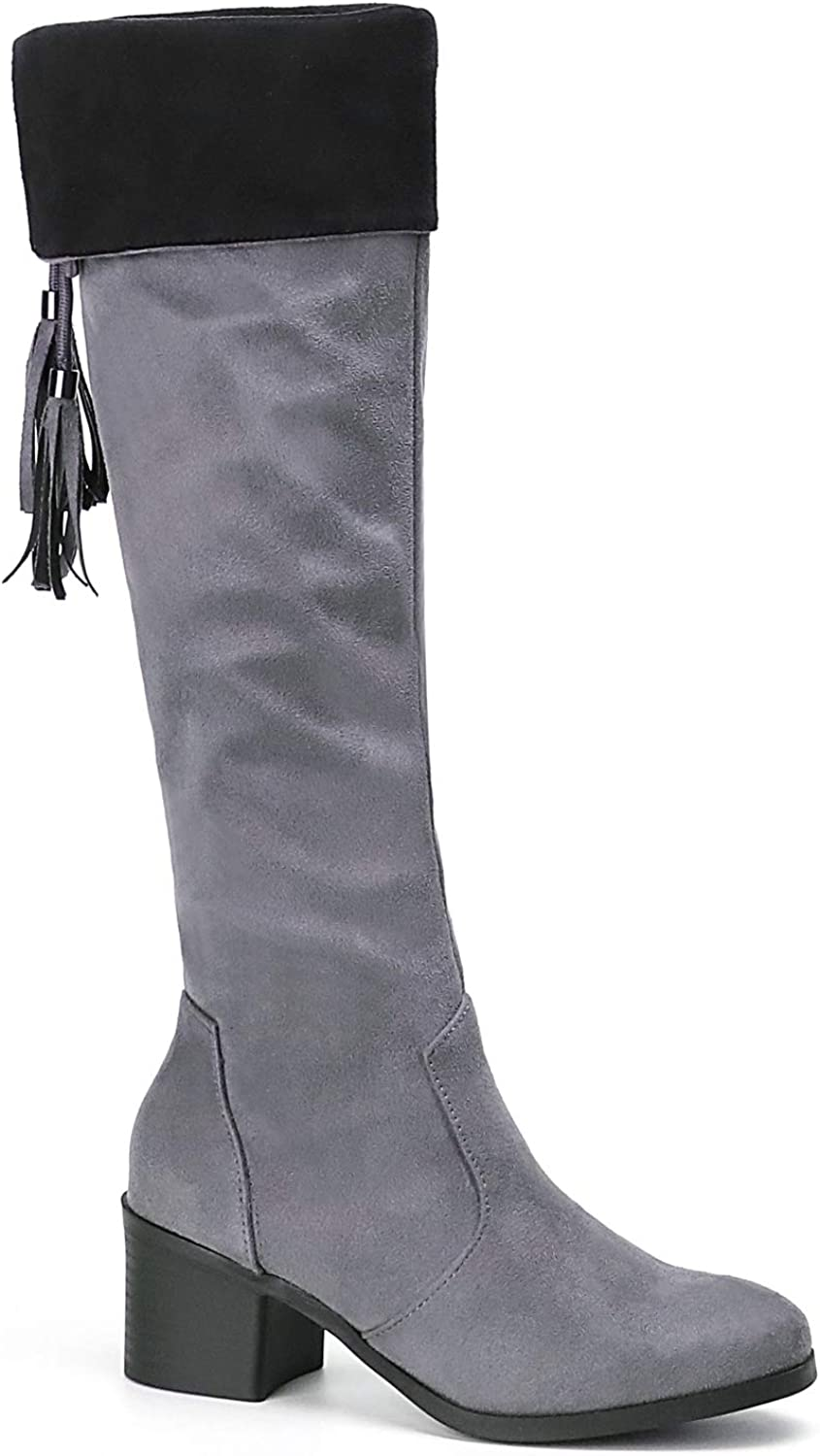 Trary Women's Over The Knee High Chunky Heel Boots with Side Zipper