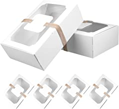 KESYOO 8. 7x6 Cupcake Boxes with Window 6 Sets Cupcake Packaging Boxes with Hemp Rope and Cards Food Grade Kraft Paper Tre...
