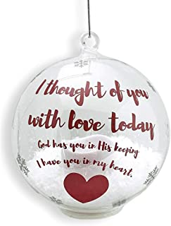 BANBERRY DESIGNS in Loving Memory Ornament - LED Glass Ball Ornament with Candle - Light Up Memorial Keepsake - I Thought of You with Love Today