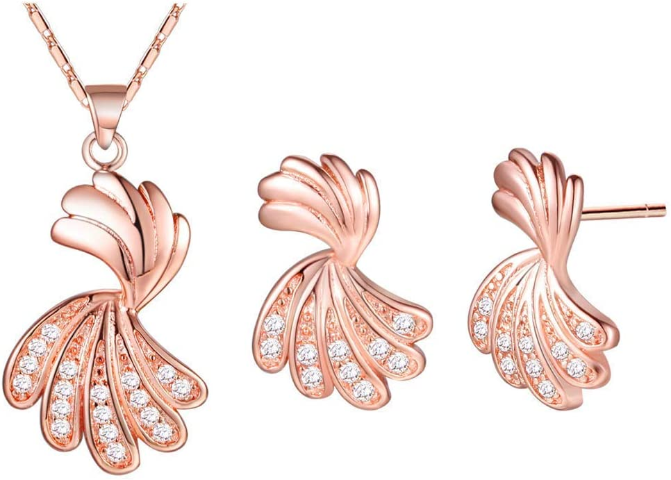 Urns Ashes Funeral Women Jewelry Set Rose Gold Plated Necklace Earrings Set Feather-Shaped Design Model Cute Style with Zirconia 45CM Pet Memorial Dog cat Urn