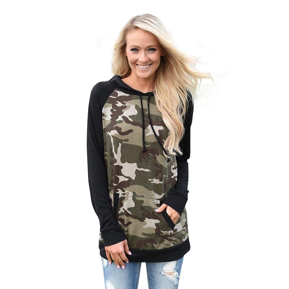 Clearance! Women Fashion Camouflage Splice Hoodie Sweatshirt Pocket Hooded Blouse Top