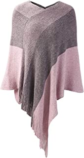 Womens Poncho Sweater V Neck Striped Pullover Soft Scarf Wrap Cape with Fringes
