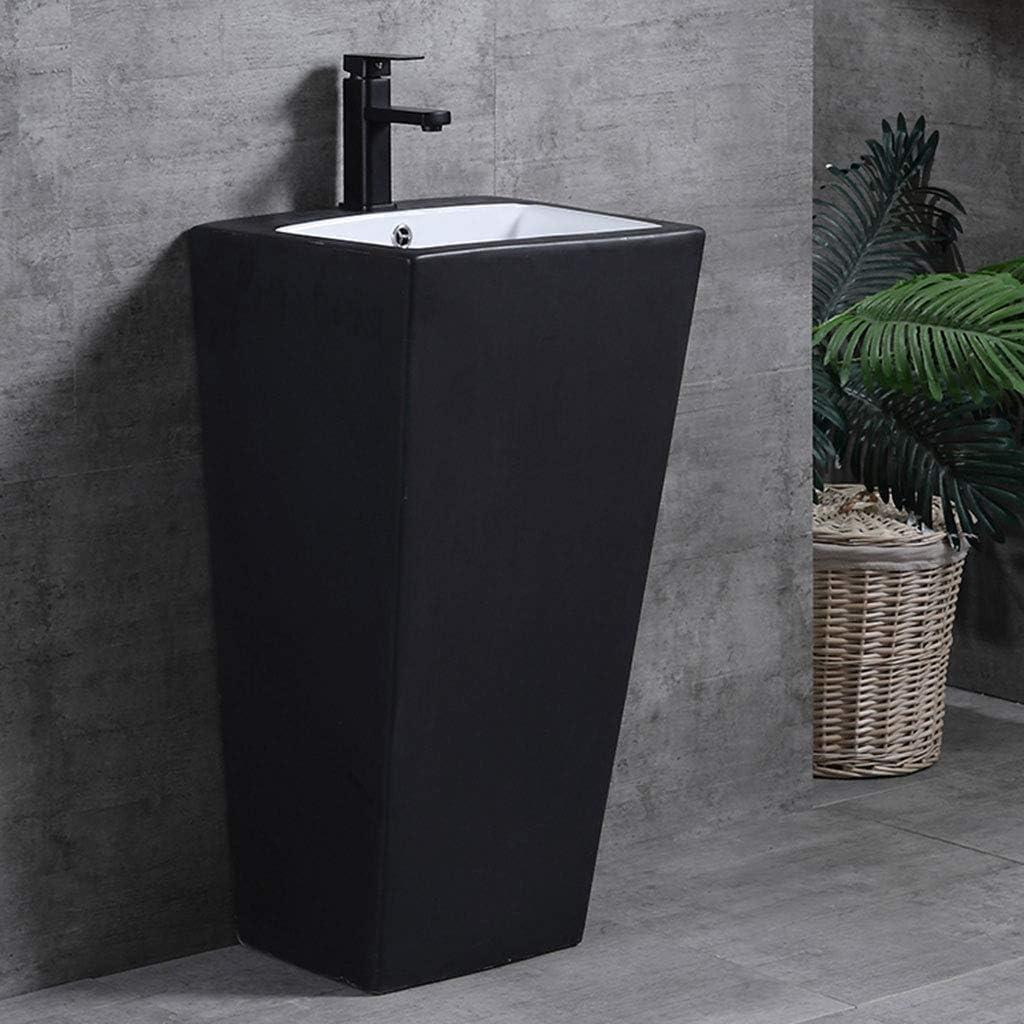 Gxfc Ceramic Basin Series Black Standing Basin Floor Standing Small Bathroom Basin Column With Tap And Waste Space Saving Design Amazon De Kuche Haushalt
