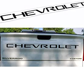 Guzetop Tailgate Insert Letters 3D Raised Tailgate Decal Letters fit for 2019 Chevy Silverado Chevrolet Emblem (Matte Black)
