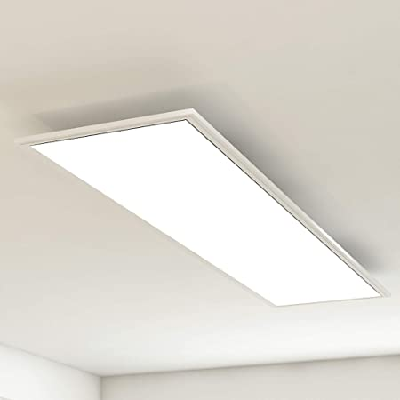 Briloner Leuchten Panneau d'éclairage de Plafond, Lampe de BSalon, Lampe de Plafond, Plafonnier, 38W, Rectangulaire blanc, 119,5 cm, Métal