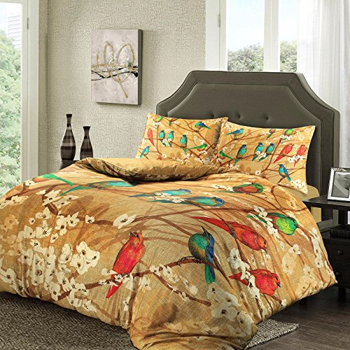 Nimsay Home Soft Touch T230 100% Egyptian Cotton Satin Sateen Birds Gold Brown Quilt Duvet Cover Pillowcase Set (King Bed Size)