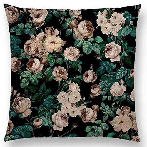 WTMLK Gorgeous Floral Night Forest Garden Prints Beautiful Flowers Rose Peony Colorful Cushion Home Decor Sofa Throw Pillow,a002308,45x45cm No Filling