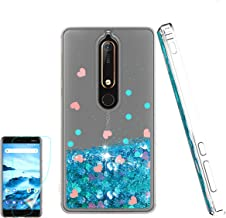 Nokia 6.1 Case, Nokia 6 2018 Case with HD Screen Protector for Girl Woman, Atump Cute Glitter Series Quicksand Liquid Floating Flowing Sparkle Bling Clear Soft Case for Nokia 6.1 Blue