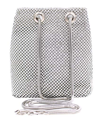 Vgift Full Rhinestone Bucket Bag, Bling Evening Bag Bridal Wedding Purse for Women, Silver, Small