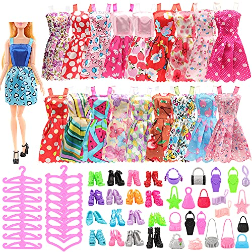 Miunana 85 Piezas para Barbie Muñeca: 20 Ropas + 50 PCS Zapatos + 15 Bolsas + 20 Perchas