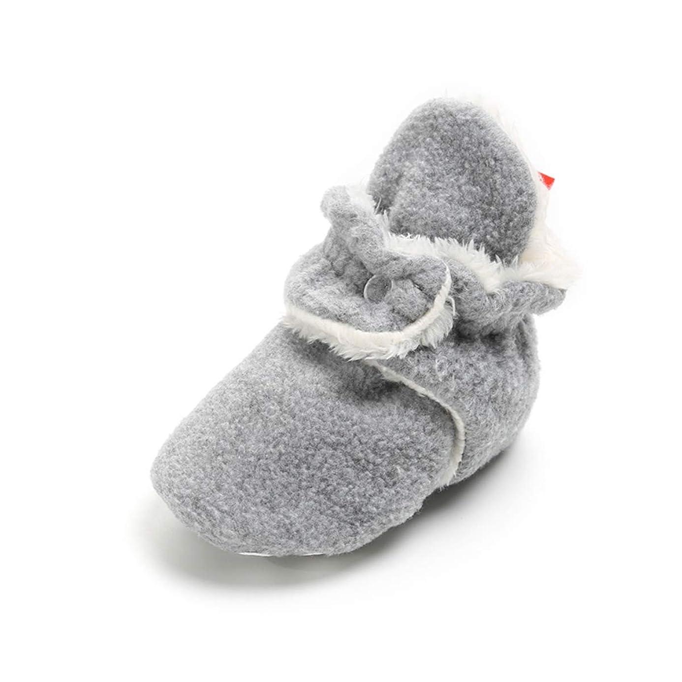 E-FAK Baby Boys Girls Cozy Fleece Booties Non-Slip Bottom Warm Winter Slippers Socks Infant Crib Shoes First Birthday Gift kic5111018
