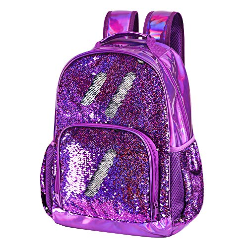 Sequin School Backpack for Girls Kids Cute Elementary Book Bag Teen Glitter Flip Sparkly Holographic Purple Back Pack