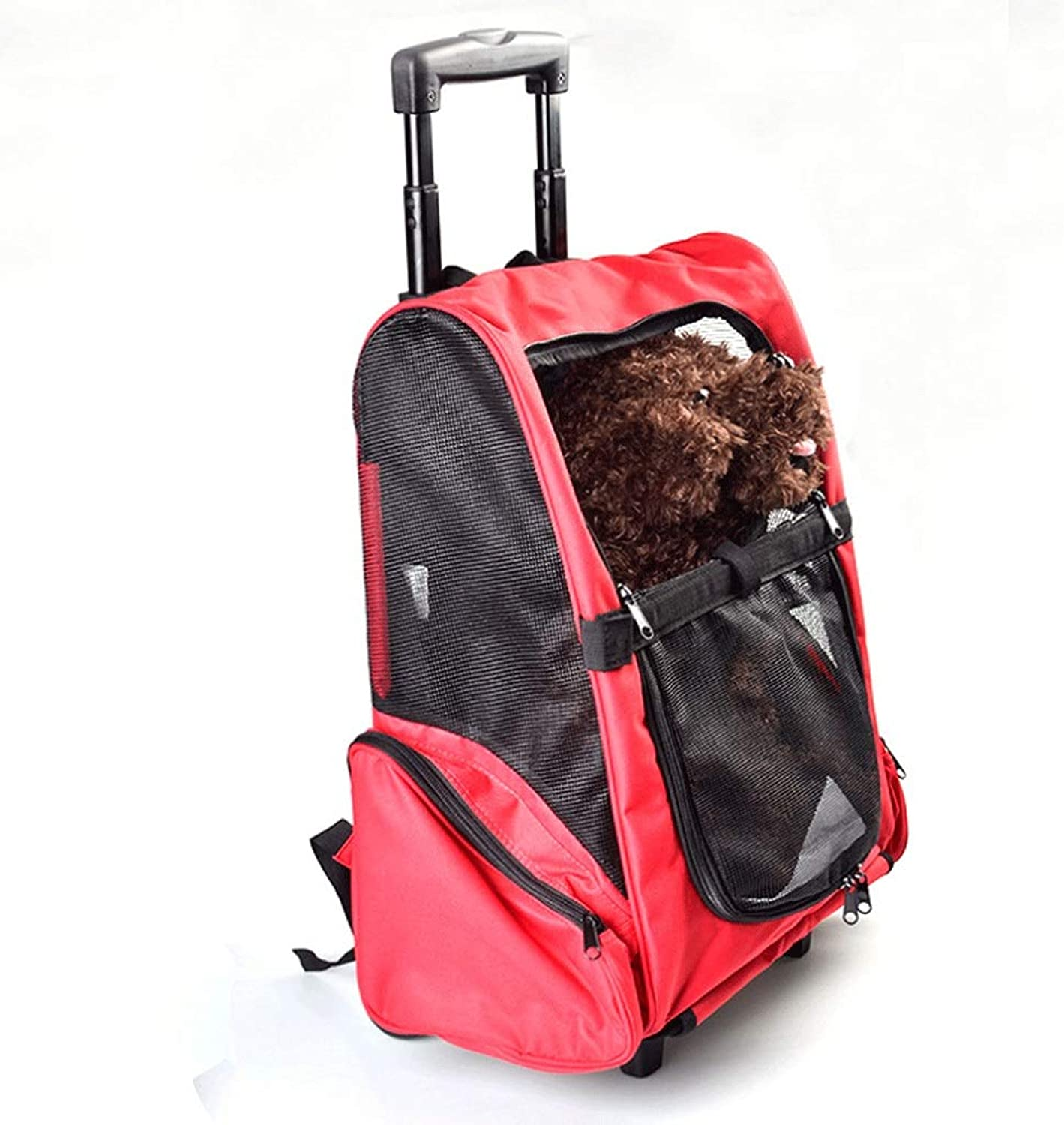 Pet Trolley Backpack Wheeled Portable Solid color Cat & Dog Universal Outdoor Travel Trolley Case Breathable Demolition Pet Backpack L44XW28XH50CM