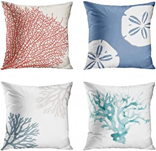 ArtSocket Set of 4 Throw Pillow Covers Pink Coastal Coral Branch Nautical Ocean Beach Sea White Denim Blue Sand Decorative Pillow Cases Home Decor Square 18x18 Inches Pillowcases