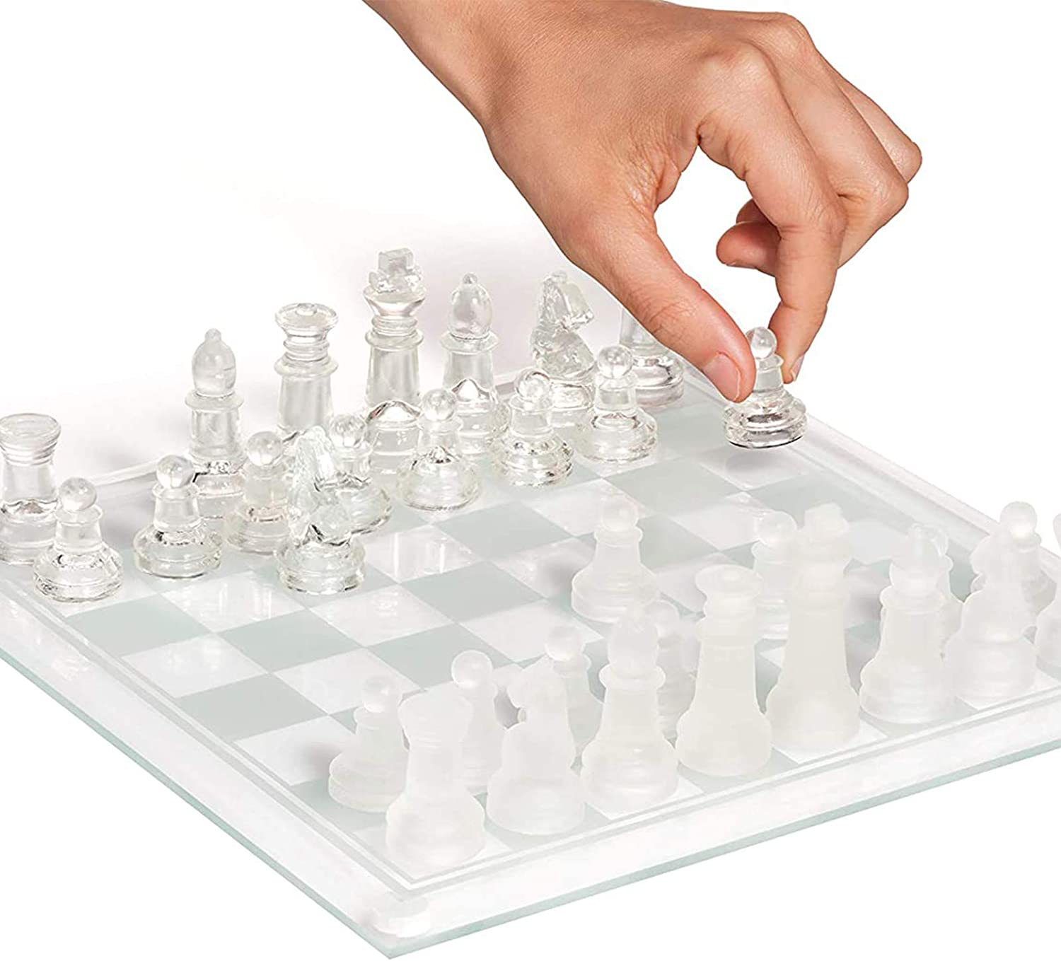 Limited Special Price Elegant Glass Chess Set Board Sale Special Price Games Solid Pieces w