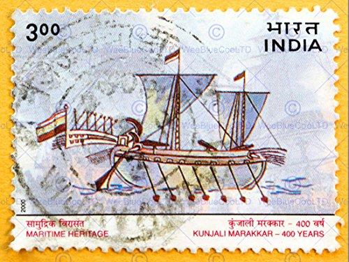 Wee Blue Coo Prints 12 X 16 INCH / 30 X 40 CMS Maritime Vintage Postage Stamp India Boat FINE Art Print Poster Home Decor Picture Jahrgang Porto Briefmarke Indien Boot Kunstdruck Zuhause Deko Bild
