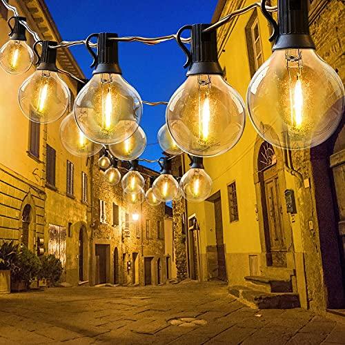 HOMOZE Festoon - Ghirlanda luminosa per esterni, alimentata dal settore 50FT G40, 25 + 2 lampadine LED, luci da giardino con luci interne ed esterne per la decorazione di feste