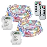 buways Fairy Lights,2-Pack Battery Operated Waterproof Multicolor 50 LED Fairy String Lights,16.4ft Silver Wire Light with Remote Control for Christmas Parties,Garden and Home Decoration