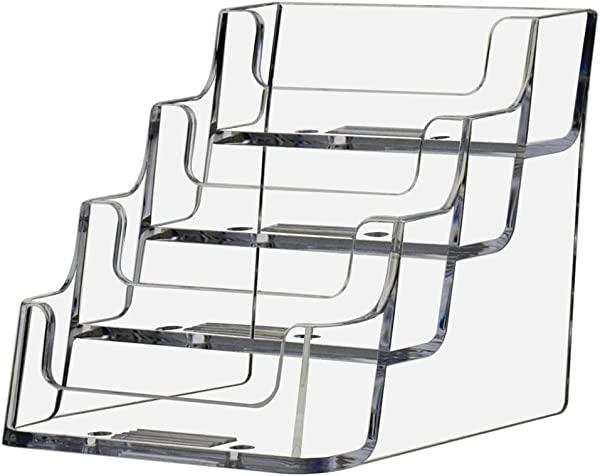 Deflecto Business Card Holder Display Multi Compartment 3 7 8 W X 3 1 2 H X 4 1 8 D 4 Compartments Clear 70841