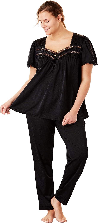 Only Necessities Women's Plus Size Silky 2-Piece Pj Set Pajama
