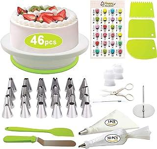 Modrad 46 Pcs Kit de Pâtisserie Plateau Tournant de Gâteau Kit de Décoration de Gâteaux Tournant Poches Douilles Spatule à...