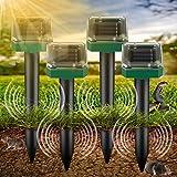 4 Stück Solar Maulwurfabwehr, Ultrasonic Solar Maulwurfschreck, Maulwurfschreck Solar mit IP56 Wasserdicht, maulwurf vertreiber, Wühlmausschreck, Mole Repellent, Schädlingsbekämpfung für Den Garten