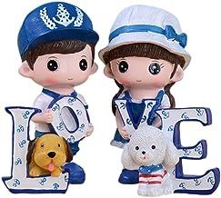 Amosfun - Figuras de Resina, diseño de muñeca de niño, niña, Pareja, Amor, Escritorio, decoración, día de San Valentín