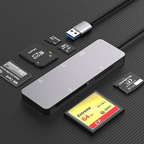 Rocketek Lettore di schede SD, Adattatore per Lettore di schede di Memoria USB 3.0 5 in 1 (5 Gbps) Lettura di 5 schede contemporaneamente per CF/XD/SD/M2-TF/MS per Mac OS,Windows,Linux,Chrom