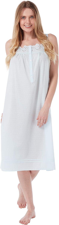 Ladies 100/% Cotton Dobby Spot Sleeveless Nightdress