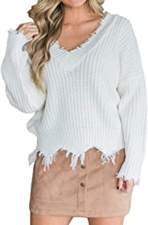 VLRSY Women Knitted Pullover Sweater V-Neck Long Sleeve Casual Loose Cropped Top Frayed Jumper Sweater