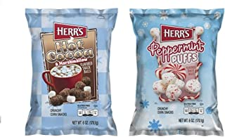 LIMITED EDITION Herr's Holiday Bundle- Two 6 oz Variety Pack Flavored Snack Balls- Hot Cocoa and Marshmallows, Peppermint Puffs