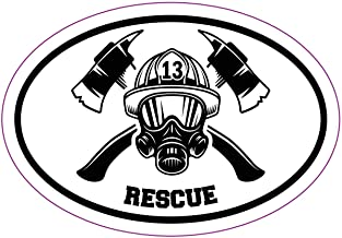 WickedGoodz Oval Firefighter Fire and Rescue Decal - Fire Department Bumper Sticker - Perfect Firefighter Gift