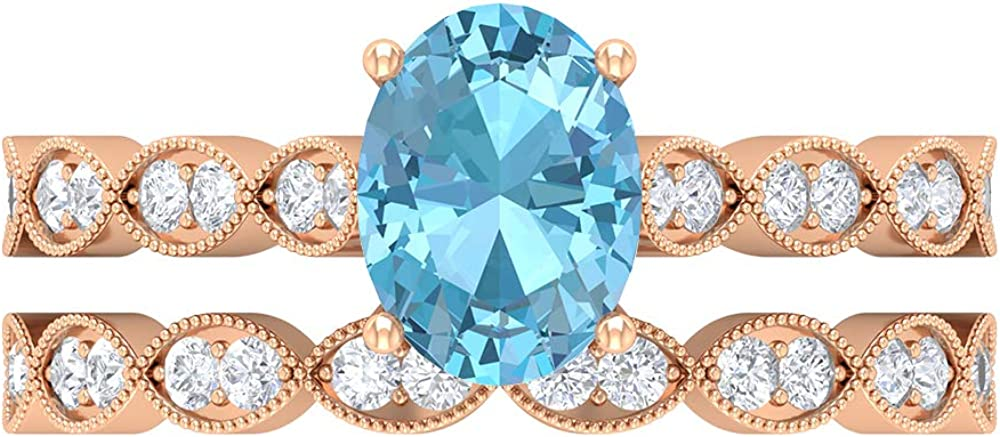 8X6 MM Oval Cut Fixed price for sale Max 48% OFF Lab Created HI-SI Ring Aquamarine Dia Solitaire