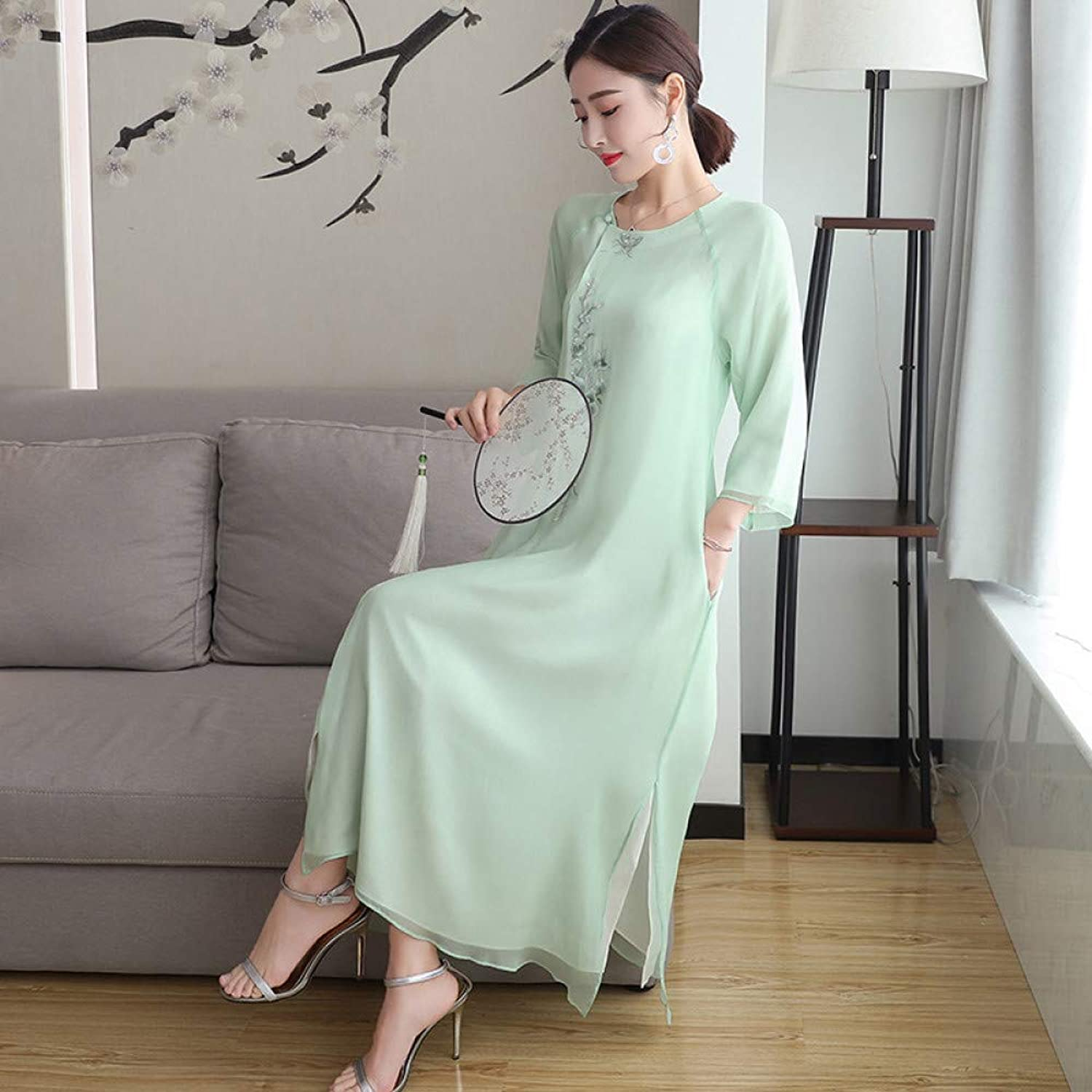 Cxlyq Dresses Embroidered Loose Tea Service Round Neck Cropped Sleeves Long Section Dress