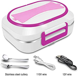 JMCQOO ElectricHeatingLunch Box, Portable Electric Bento Box 12V and 110V car and home Dual Use with Removable 304 Stainless Steel Food Warmer Heater/Bento Meal Heater(Rose)