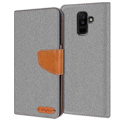 Verco Galaxy A6+ Hülle, Schutzhülle für Samsung Galaxy A6 Plus Tasche Denim Textil Book Hülle Flip Hülle - Klapphülle Grau