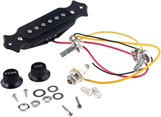 Musiclily Pre-wired 6-String Single Coil Electric Cigar Box Guitar Soundhole Pickup Harness with Volume & Tone knobs Pots