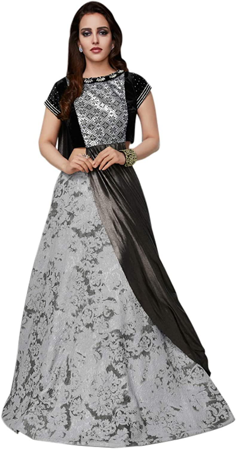 DesiButik's Wedding Wear Ravishing Grey Art Silk Lehenga Choli