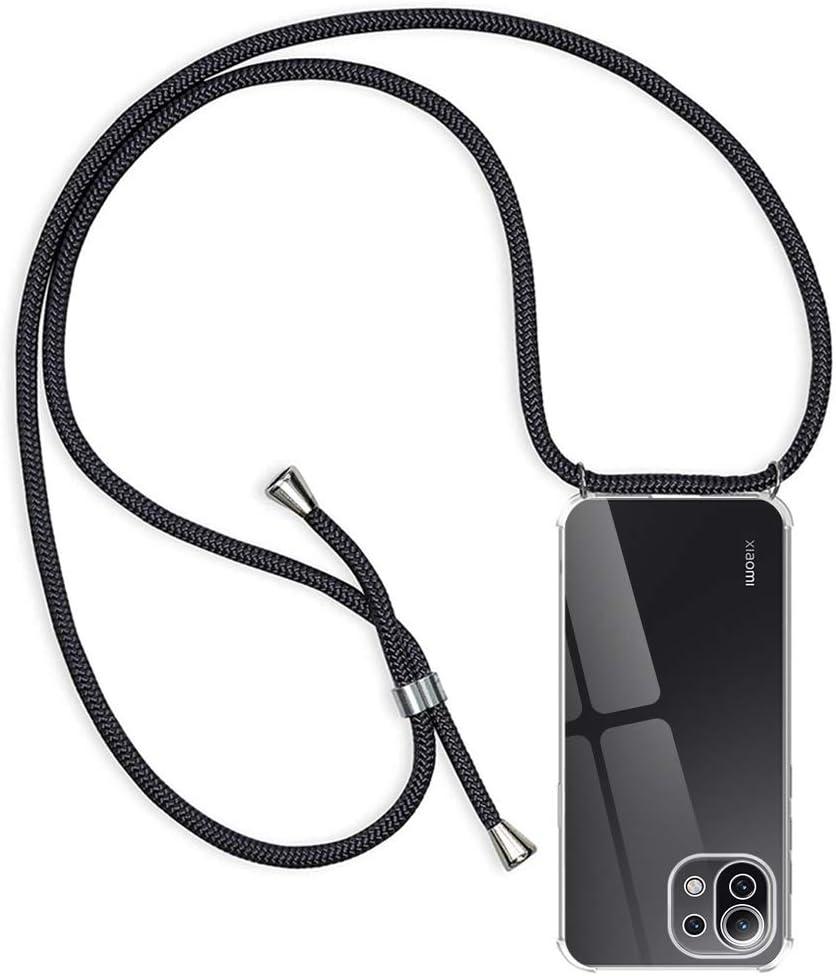 RosyHeart Funda con Cuerda Compatible con Xiaomi Mi 11 Lite 5G, Transparente Silicona Carcasa con Colgante para Mi 11 Lite, Suave TPU Gel Slim Case con Ajustable Correa Collar Protector Case - Negro