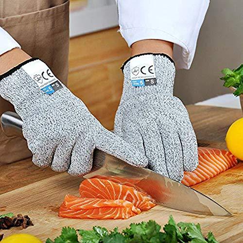 Schnittfeste Handschuhe, Level 5, Schutz in Lebensmittelqualität, Küchen-Sicherheitshandschuhe zum Schneiden, Kochen, Schneiden, Hacken und Schälen, Holzbearbeitung, 1 Paar, XL(26CM), grau, 1