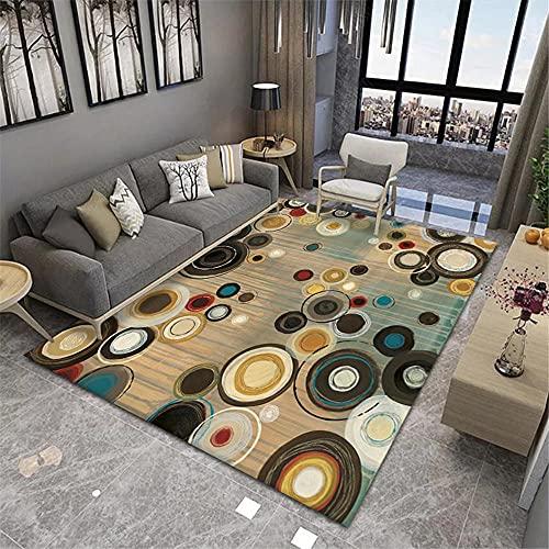 Alfombra Suelo Escritorio,Alfombra Verde, patrón de círculo Alfombra antiestática Fácil de vacío ,alfombras de Salon Modernas -Verde_120x180cm
